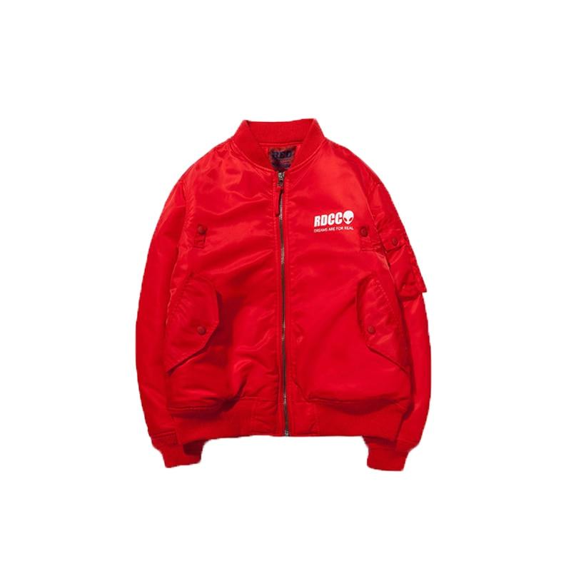Red Charcoal 2017 Winter Red Parka Letter Print Big Pocket ...