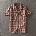 2017 verano algodón hombres camisa casual clothing corto-manga de la camisa de tela escocesa de los hombres camisa de los hombres de la marca slim fit hombres camisas más el tamaño