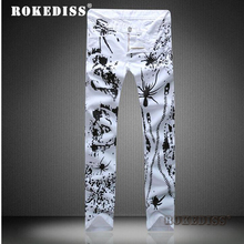 Spring and Autumn Men s The New Slim personality printing cowboy fashion Leisure Feet Small trousers