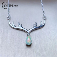 CoLife Jewelry 925 silver deer head pendant 4mm*6mm natural white opal pendant 925 silver opal jewelry for party