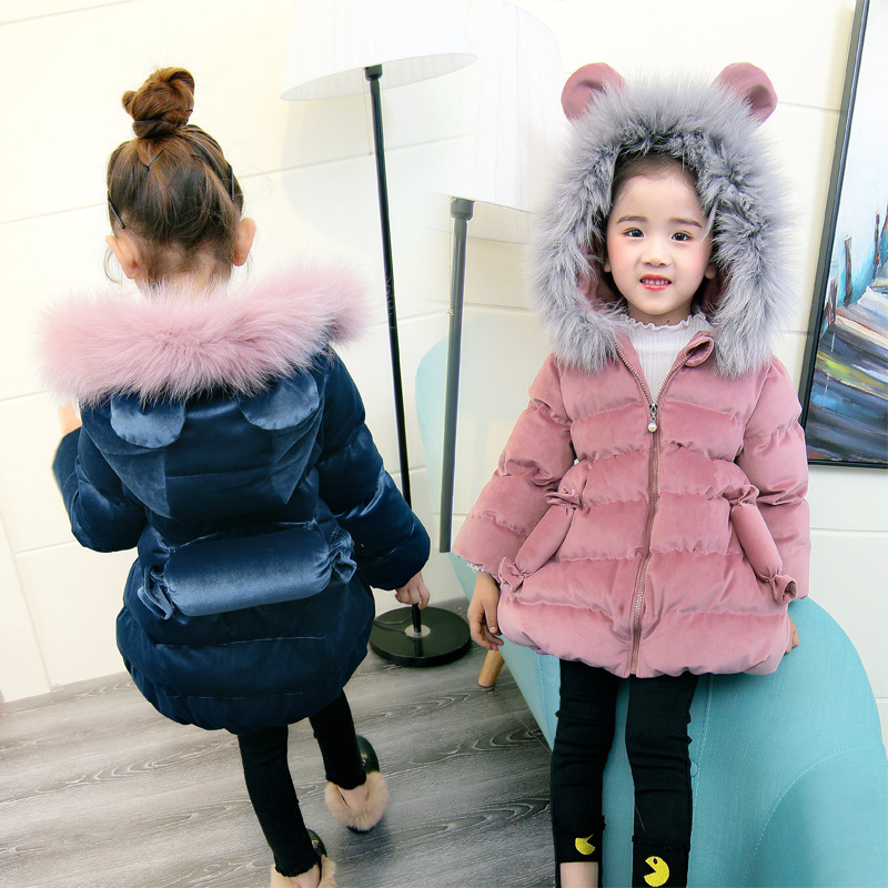 Girls Corduroy Parka Winter Warm Jacket Coat Cute Novelty Candy Down Cotton-padded Jacket Big Fur Collar Outerwear 100-140 new 2017 men winter black jacket parka warm coat with hood mens cotton padded jackets coats jaqueta masculina plus size nswt015