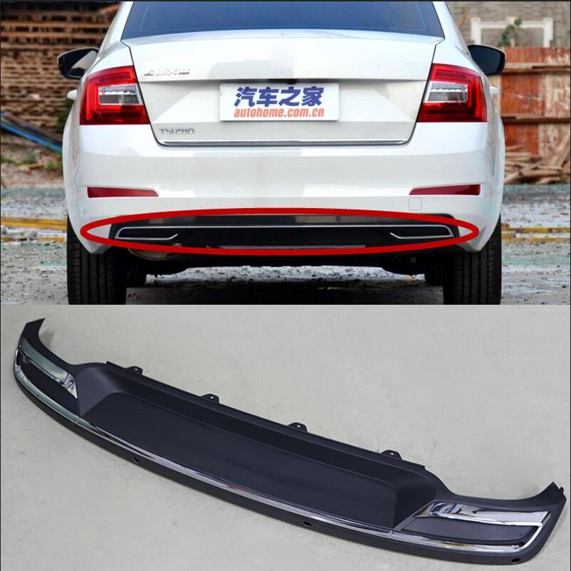 High Quality Black PP Rear Bumper Diffuser Auto Car rear lip with chrome line for skoda Octavia 4dr or 5dr 2015 2016 2017|steel panel doors|octavia mk3|frame frame - title=