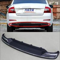 High Quality Black PP Rear Bumper Diffuser,Auto Car rear lip with chrome line for skoda Octavia 4dr or 5dr 2015 2016 2017