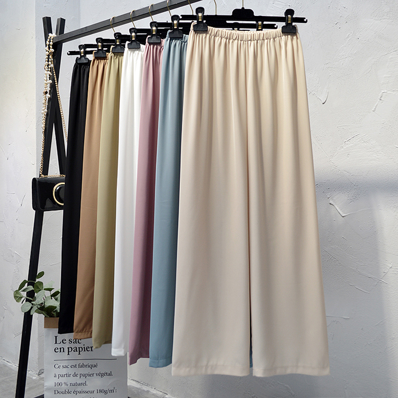 2019Women's summer ice silk wide leg pants big yards loose pant fashion culottes elastic waist pantyhose female casual pants