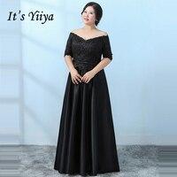 It's YiiYa Evening Dress 2018 Black Boat Neck Half Sleeve Plus Size Fashion Designer A Line Girls Party Dress DM059