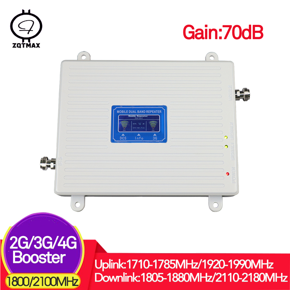 ZQTMAX Dual Band Repeater 1800 2100 2g 3g 4g Signal Booster  DCS 1800mhz For 2g 4g Cellular Repeater,WCDMA UMTS For 3g Internet