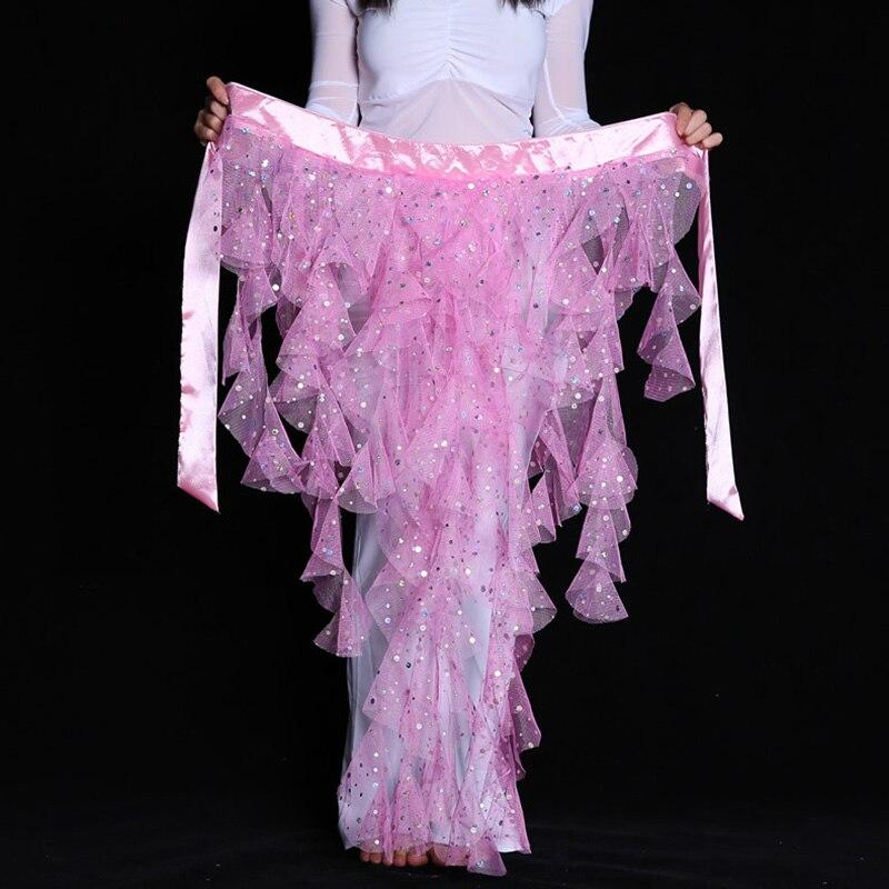 Fashion Bellydance Hip Scarf Belt Skirt Waistband Wrap Elegant Egypt Sequins Belly Dance Waist Chain Solid Color