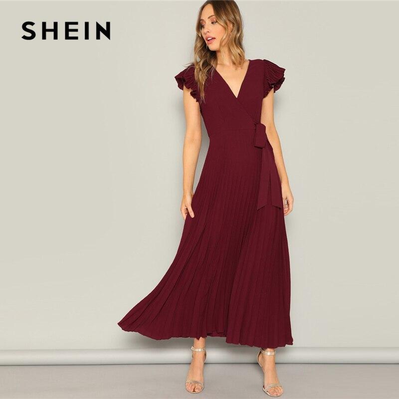 SHEIN Glamorous/бордовое приталенное платье с рукавами-фонарики и v-образным вырезом, 2019, весенние платья, короткие рукава-фонарики, элегантные пла...