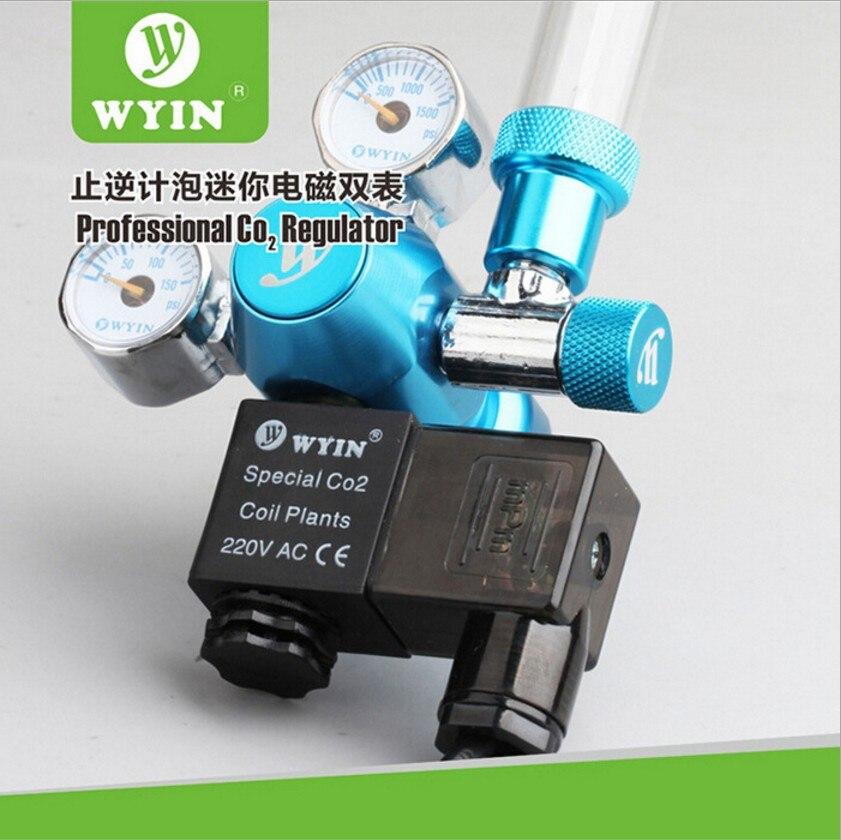 Aquarium CO2 régulateur Double jauges 110 V 220 V compteur à bulles solénoïde diffuseur tube sangsue attrape crevettes plante Aquarium - 5