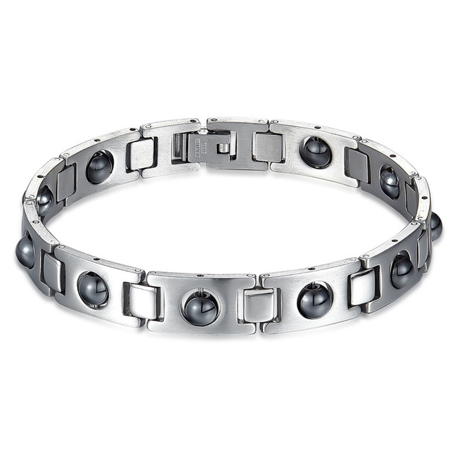 Cool Magnetic Bracelet Beads Hemae Stone Therapy Health Care Stainless Anium Steel Magnet Bracelets Men S Jewelry