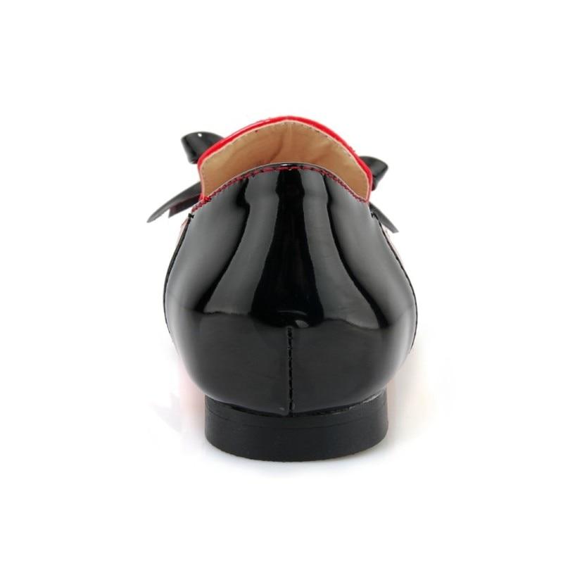 Papillon 1 Automne Mode Chaussures Blanc Rouge Mary Femmes Cuir Nouvelle Party Casual Janes Verni Printemps De 2 2018 En Noeud Office Sexy Appartements wxq01I6OS