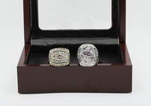 One Set(2pcs) 2000 2012 Baltimore Ravens Super Bowl Football Championship Ring Size 10-13 With High Quality Wooden Box