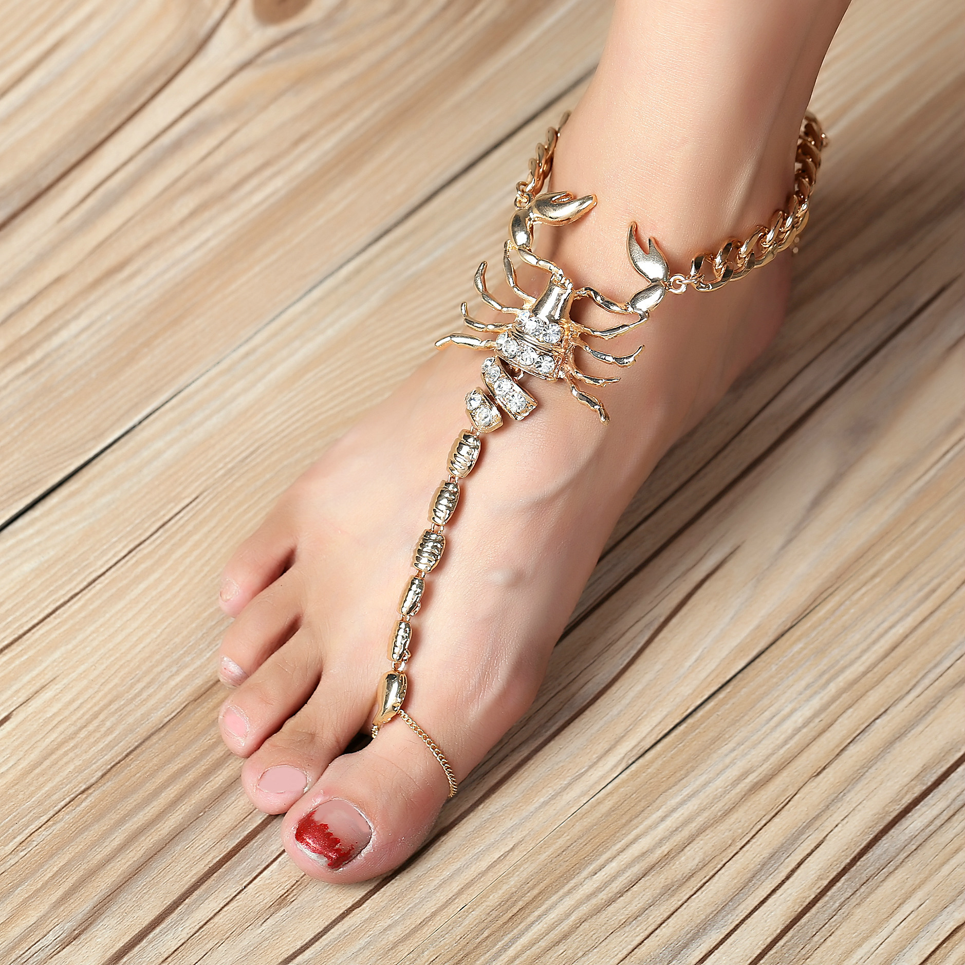 myshoplah chain crystal anklets toe ring fine with anklet sandal foot barefoot wedding and beach rhinestone jewelry rings