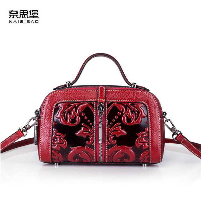 NAiSIBAO 2018 New top Cowhide women genuine Leather bag Embossed fashion luxury handbag designer tote women leather shoulder bag