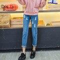 Buraco calças de Brim azul Mulher Skinny Jeans rasgado Para As Mulheres do Sexo Feminino calças Harem Pants calças Soltas Mendigo Plus Size 4XL 5XL Mulheres calças de brim