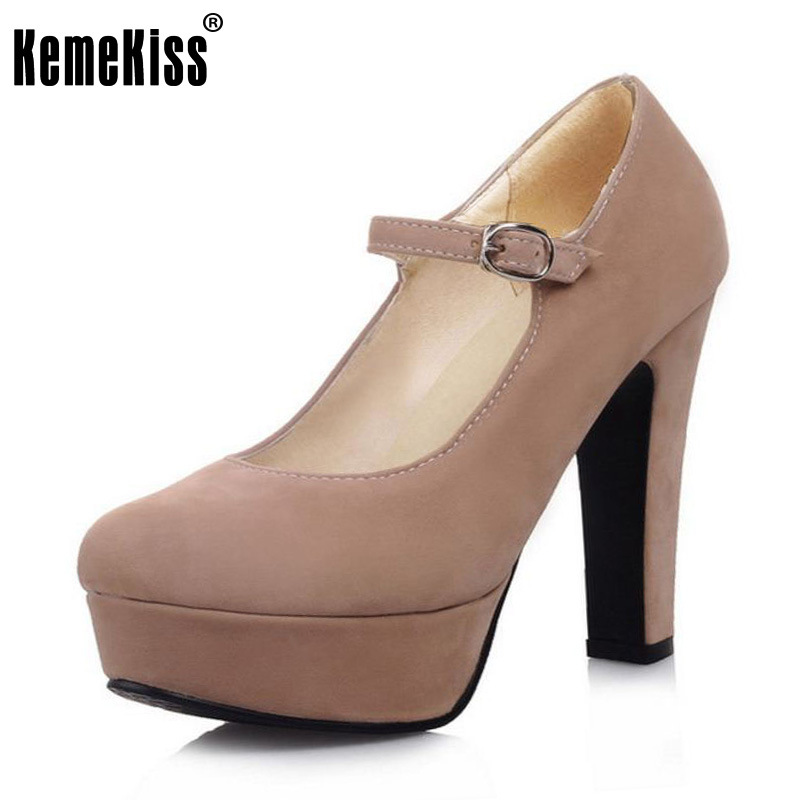 KemeKiss Size 32-43 Sexy Women High Heel Shoes Women Platform Ankle Strap Thick Heel Pumps Women Party Club Shoes Women Footwear kemekiss size 33 42 women s high heel wedge shoes women cross strap platform pumps round toe casual mixed color ladies footwear