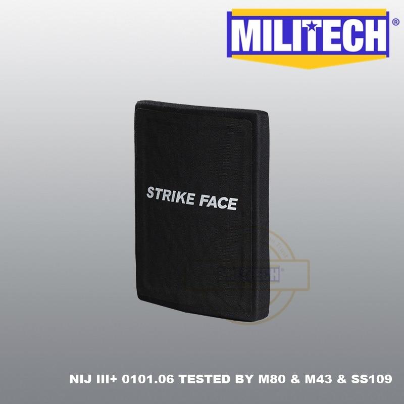 AK47 & SS109 & M80 6'' X 8'' NIJ Level III+ 3+ Ballistic Panel Two PCS Bulletproof Side SAPI Plate Stand Alone ESAPI--MILITECH