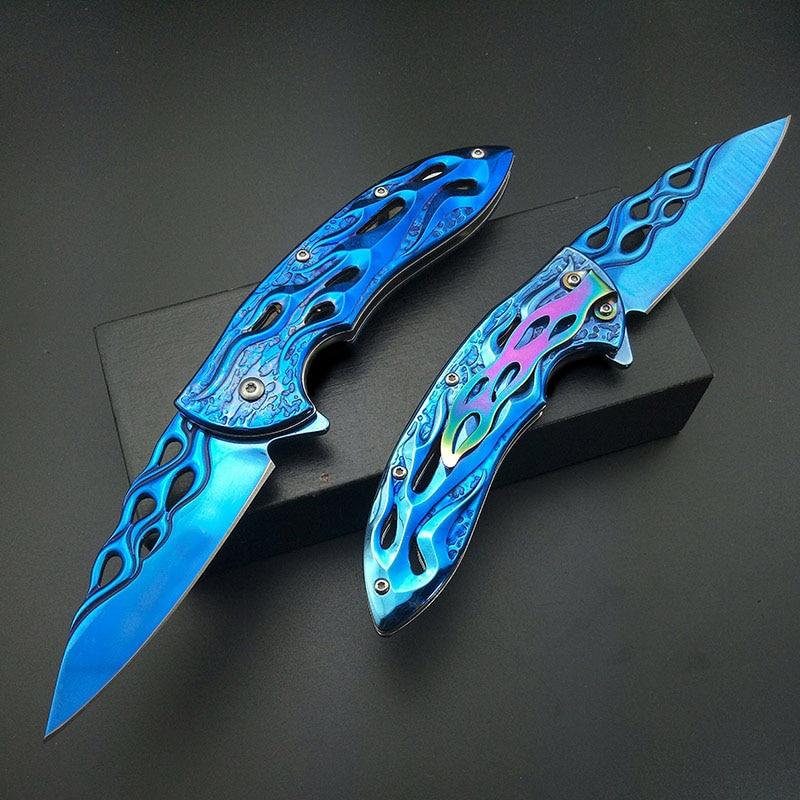 Handle Fold Blue Fire Collect Artwork Titanium Belt Folding Blue Clam Knife Blade Knife 440C Flame Rainbow Knife
