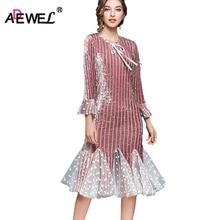 ADEWEL Autumn Long Flare Sleeve Midi Dress Elegant Short Mermaid Patchwork Velvet Lace Mesh Women Vintage Party Dresses