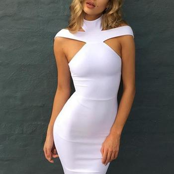 Dress Women Summer 2018 Sexy High Collar Cutout Sleeveless Solid Slimming Club Party Dress Women