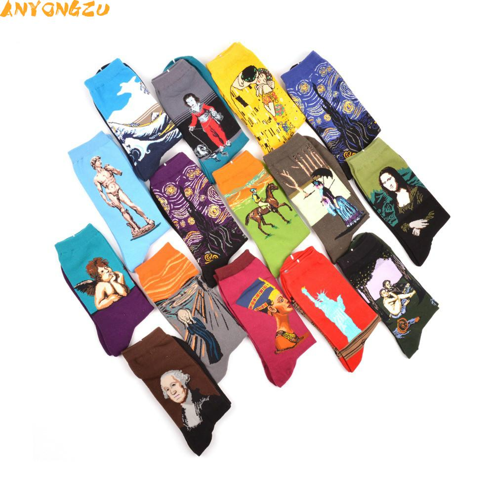 Anyongzu 5pairlot 3D Combed Cotton Colorful Van Retro Oil Painting woman Socks cool casual Dress Funny party Big yards socks