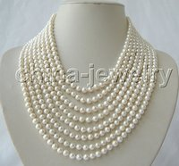 Beautiful 8row 6mm white round freshwater pearl necklace