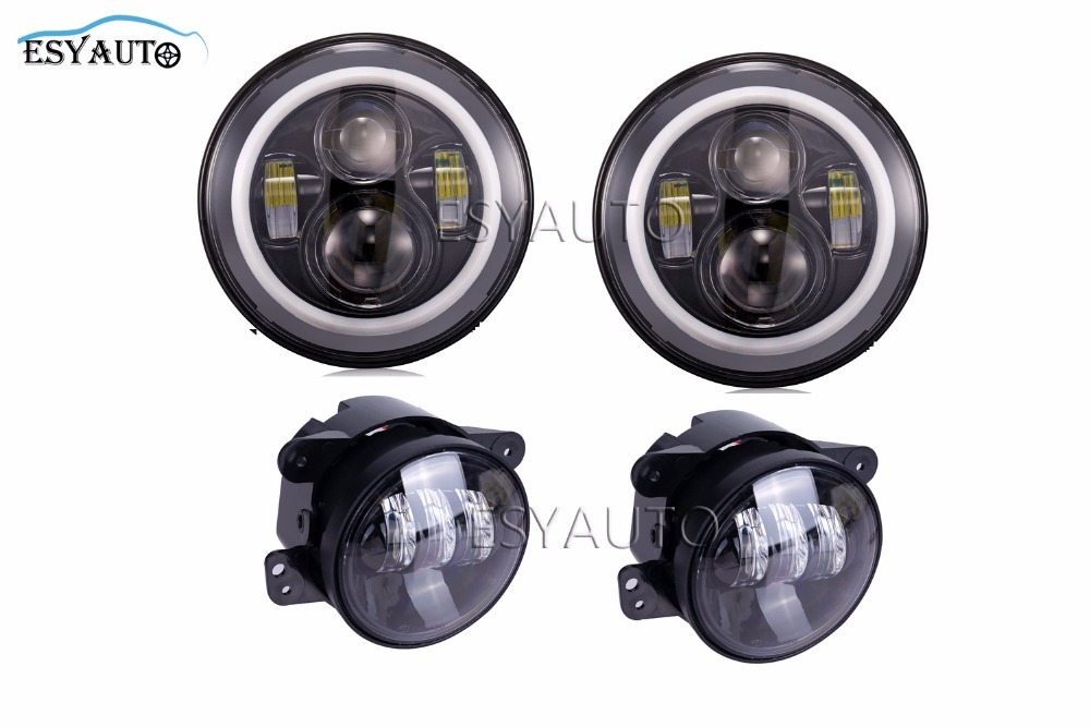 7 Inch Headlights LED Projector Daymaker Angel eyes Halo Ring + 4 inch Projector LED Auxiliary Fog Lamps For Jeep Wrangler TJ