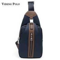 VIDENG POLO 2017 Men S Waist Bag Nylon Waterproof Chest Bag Money Phone Zipper Leather Chest