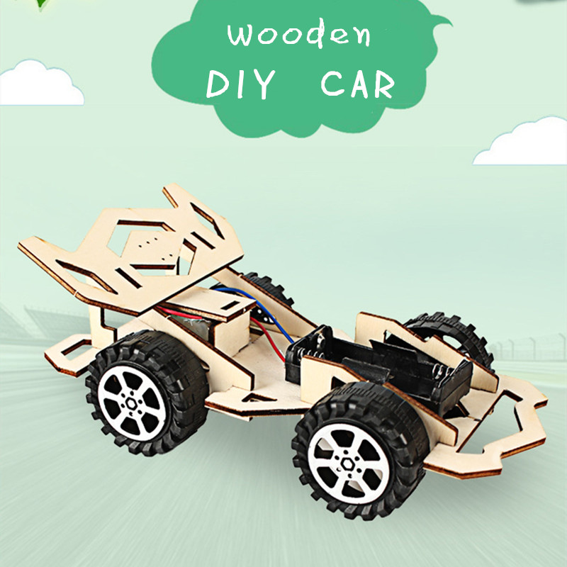 New Wooden DIY Racing Car Model Kit Wood Kids Physical Science Experiments Toy Set Assembled Car Educational Toy Kids Gifts