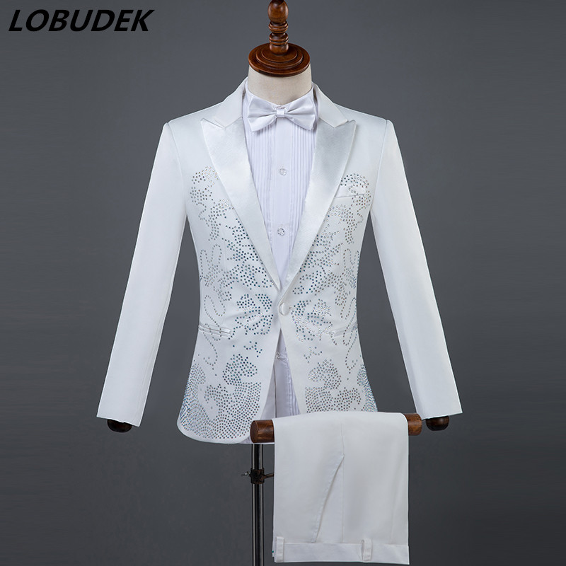 (Jacket+pants) Men Suits Sparkly Rhinestones White Black Suit Male Singer Chorus Compere Master For Wedding Performance Costume