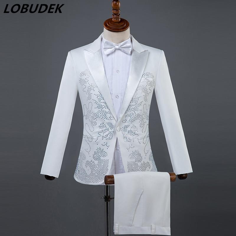 (Jacket+pants) Men Suits Sparkly Rhinestones White Black Suit Male Singer Chorus Compere Master For Wedding Performance Costume