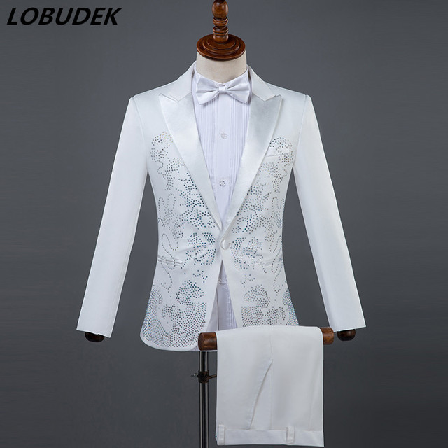 7d22018a (Jacket+pants) Men Suits Sparkly Rhinestones White Black Suit Male singer  Chorus Compere Master for Wedding performance Costume