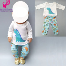 new arrival doll clothes for 43cm Baby doll boy clothes pants set dinosaur for 18 inch doll boy spring outfit(China)