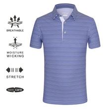 EAGEGOF мужские рубашки для гольфа с коротким рукавом, полосатая футболка поло, быстросохнущая одежда для тенниса/гольфа, не железная спортивная одежда, мягкая