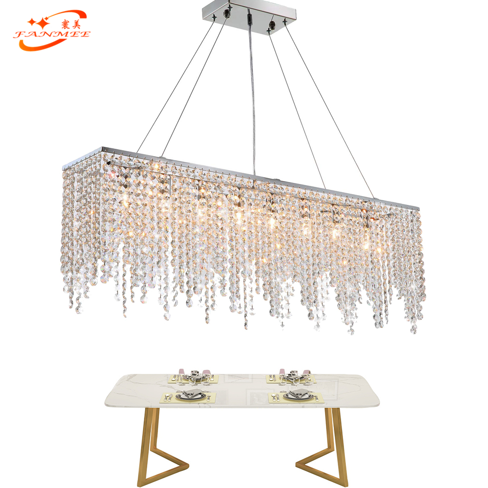 Fanmee Modern Crystal Chandelier Lighting Linear Chandelier Lamp Restaurant Living Dining Room Lustre de Cristal Hanging