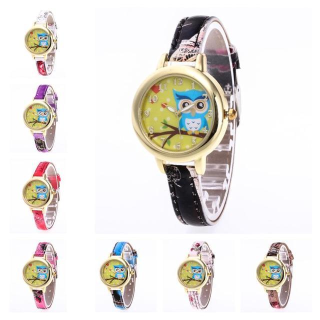 bayan kol saat Women Watch Quartz Wrist Watch Retro Cartoon owl Design Casual Le