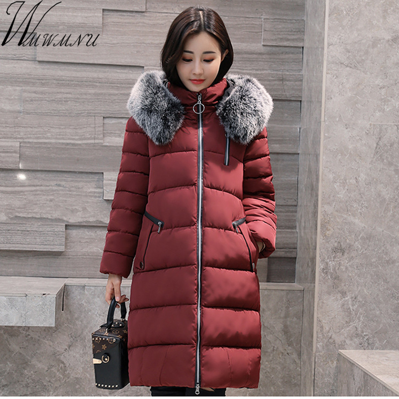 Wmwmnu Women's Thick Warm Long Winter Jacket Women Parkas 2017 Faux Fur Collar Cotton Padded Coat Femme plus size 5XL outwear wmwmnu women winter long parkas hooded slim jacket fashion women warm fur collar coat cotton padded female overcoat plus size