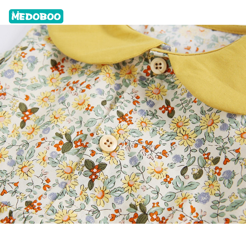 Medoboo Summer Fashion Baby Jumpsuit Romper Newborn Floral Sleeveless Collar Infant Bodysuits One Pieces Baby Romper Cotton 30 in Bodysuits from Mother Kids