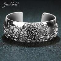 JIASHUNTAI Retro 925 Sterling Silver Bangles For Women Lotus Flower Vintage Silver Jewelry Female Handmade Opening