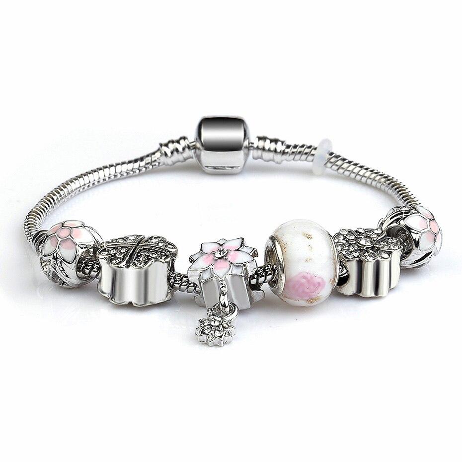 Silver Plate Snake Chain Heart Key Crystal CZ European Style Charm Bracelet for Women Femme Pink DIY Friendship Bracelets MOM in Charm Bracelets from Jewelry Accessories