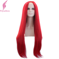 Yiyaobess Long Straight Red Lace Front Wig Synthetic Hair Heat Resistant Fiber Natural Party Wigs For White Women