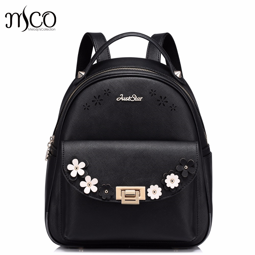 Brand Design Appliques Hollow Flowers Lock PU Women Leather Ladies Girl Backpack Shoulders School Travel Bags Student Daypack just star brand design elf hardware casual pu women leather ladies girls backpack school travel shoulders bags