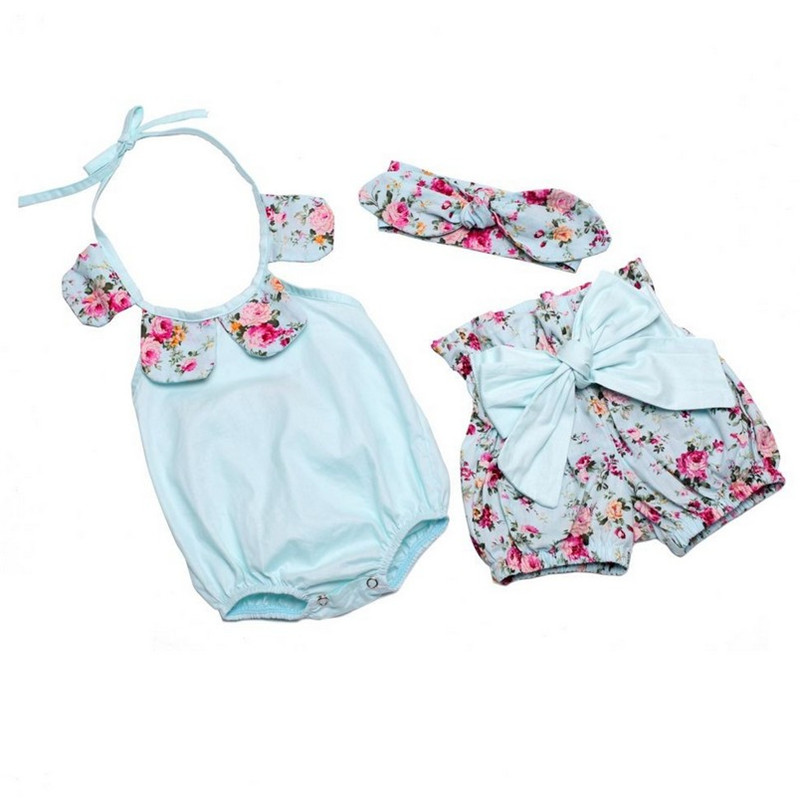 Newborn Baby Girls Clothes Summer Cotton Flower Girl Rompers+Short Pant+Girls Headbands Ruffled Newborn Baby Toddler Clothing summer cotton baby rompers infant toddler jumpsuit lace collar short sleeve baby girl clothing newborn overall clothes