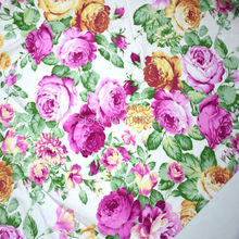 160CM Width Vintage Big Pink Floral Cotton Fabric Printed Twill Weave Patchwork For tecidos baby dress