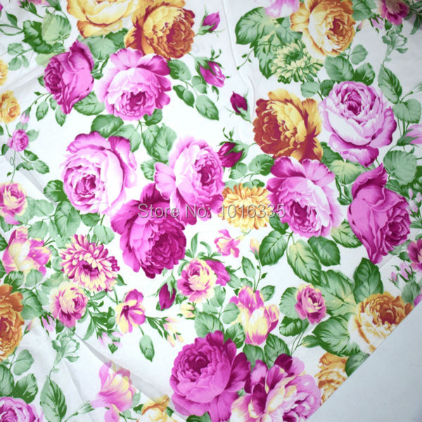 160CM Width Vintage Big Pink Floral Cotton Fabric Printed Twill Weave Patchwork Fabric For tecidos baby dress