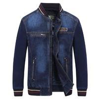 Autumn Winter Retro Baseball Jacket Cotton Men Casual Bomber Denim Jacket Cowboy Jeans Coat OUTWEAR Male Clothes Plus Size 4XL