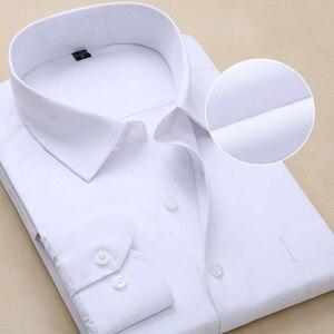 Image 5 - בתוספת גודל גברים שמלת חולצות ארוך שרוול Slim Fit מוצק פסים עסקי פורמליות לבן חולצת גבר זכר חברתי גדול גודל בגדים