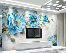 beibehang Modern minimalist classic papel de parede 3d wallpaper hand drawn painting peony flower european style wall decoration