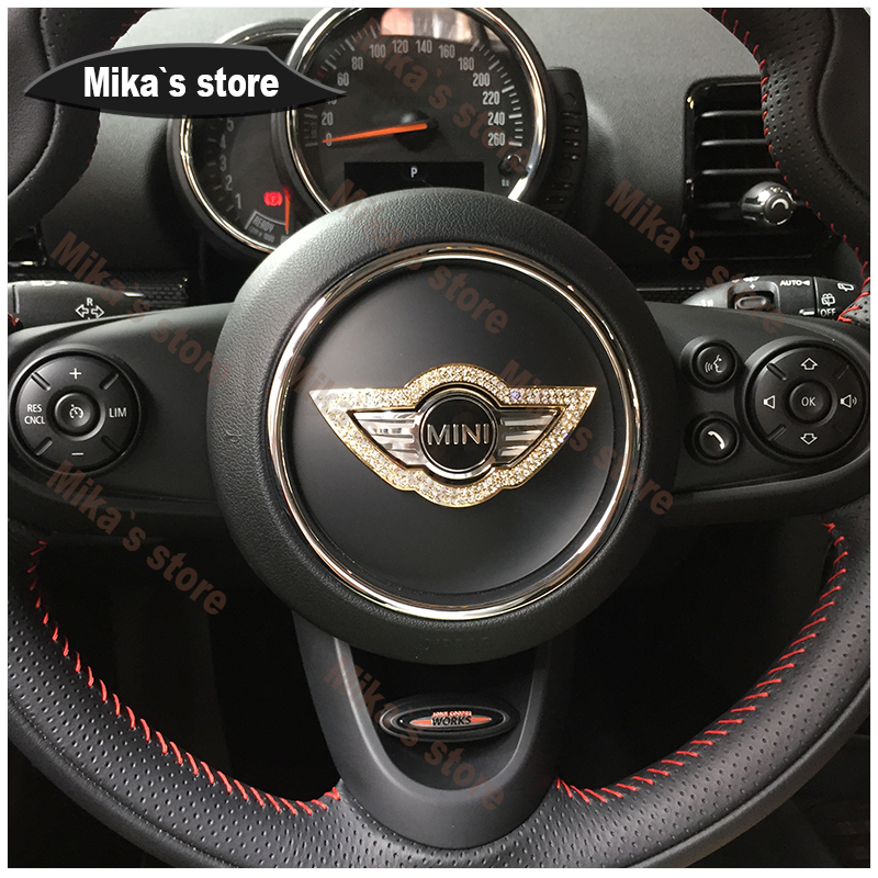 Hot sales product of artificial diamond steering wheel center cover for MINI COOPER R55 R56 R60 R61 F55 F56 F60 car styling senior luxury hand knitted bv style car steering wheel cover for mini cooper