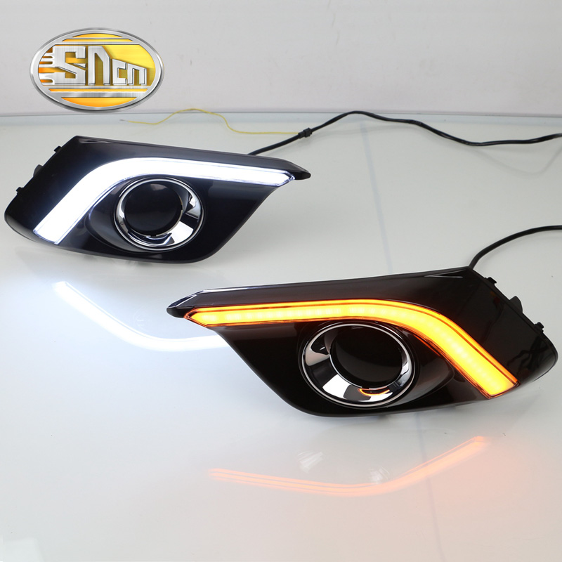 SNCN Yellow Turn Signal Function Waterproof ABS Cover 12V Car DRL LED Daytime Running Light Daylight For Mazda 3 2014 2015 2016